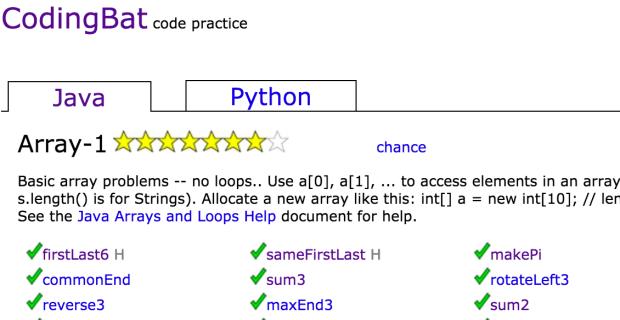 Codingbat Array 2 Answers Part 3